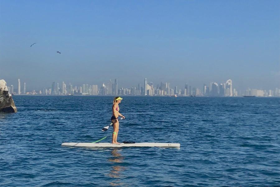 Seychelle paddling Panama's bay